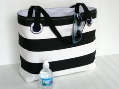 Nautical Beach Tote Cabana Striped Tote Vacation Carry On Bag Beach Bag Cruise Pool Black &  White Tote  Medium Tote Beach Bag GIFT UNDER 50 by maggieanns on Etsy https://www.etsy.com/listing/215059447/nautical-beach-tote-cabana-striped-tote