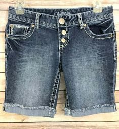 36dde39f5e Maurices Womens Bermuda Jean Shorts Size 1 2 Thick Stitch Distressed Low  Rise #Maurices #JeanShorts #Casual