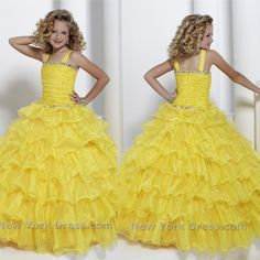 Hot Sale Square Beads/Ruffle/Tiers/Ruched Organza Floor-Length Glitz Little Girls Pageant Dresses 2014 Yellow