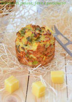 Tortino di patate, fave e prosciutto