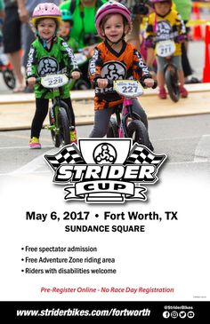 Get ready get set - GO! National Strider Cup Races to Begin in Fort Worth, Texas in early May 2017. Details inside. #sposnored