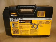 """DEWALT 20v MAX LITHIUM ION 1.5 Ah DCK280C2 COMPACT DRILL/DRIVER/ IMPACT DRIVER COMBO KIT INCLUDES: DCD780 Drill Driver, On-Board Bit Tip Holder, Belt Hook, DCF885 1/4"""" Impact Driver, Belt Hook, 2- 20v MAX Lithium Ion 1.5 Ah Battery Packs, Fast Charger, Kit Box. BRAND NEW, NEVER USED ASKING $290.    4036808702"""