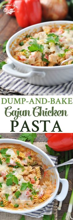Dump-and-Bake Cajun Chicken Pasta! Easy Dinner Recipes | Dinner Ideas | Chicken Recipes | Pasta Recipes | Casserole Recipes | Casserole Dinners