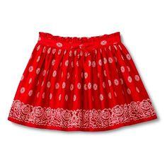 Toddler Girls' Bandana Boarder Print Mini Skirt - Chili Pepper Red