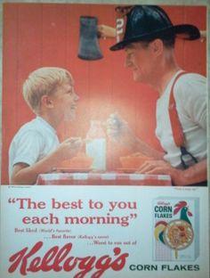 Vintage 1959 Kellogg's Cereal Fireman Magazine Ad Wall by Inkart, $3.00