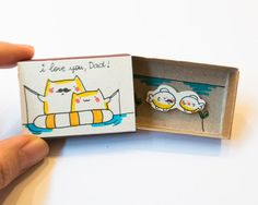 """Father's Day Card/ Cute Dad's Card/ Gift for Dad /Cat Fishing Card/ """"I love you Dad"""""""" Matchbox/ Gift box"""