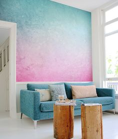 Painterly: This pink and blue wall mural by pixersize.com harks back to eighties paint eff...