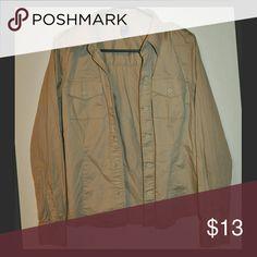 Camel Button Down Shirt GAP Like-New // no flaws GAP Tops Button Down Shirts