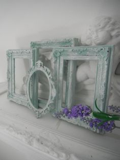 seafoam green antiqued picture frames beach cottage by ShabbyRoad
