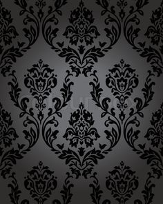 Stock vector of 'pattern, gothic, floral, backgrounds, seamless, black, retro, west, wild, wallpaper, decoration, medieval, flower, imagery, vector, silk, decor, venice, revival, gray, dark, victorian, oldfield, illustration, flora, restyled, swirl, plant, painting, antique, style, ornate, nature, baroque, textile'