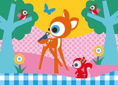Poster bosdieren A4. Vrolijk de kinderkamer of babykamer op met deze lieve en vrolijke poster. Het formaat is 21 x 29,7 cm. €9,90