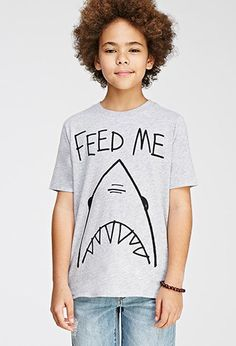 Boys Feed Me Shark Tee (Kids) | FOREVER 21 BOYS - 2000052594