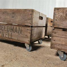 Wooden Fruit Crates with Wheels - Vintage Storage - Original House ($50-100) - Svpply