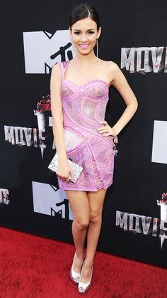MTV Movie Awards 2014 Red Carpet - Victoria Justice from #InStyle.  Victoria Justice in Atelier Versace.