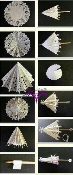 зонтик из бумажной салфетки