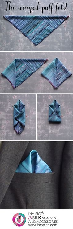 How to fold a pocket square - The winged puff fold - silk handkerchiefs