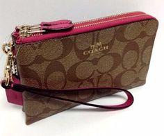 COACH Wristlet Double Corner Zip Wallet Sig PVC Khaki Dahlia Pink 64131 NWT #Coach #Wristlet