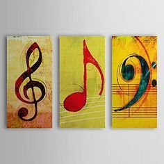 Hand Painted Artwork 3 Piece Wall Art Oil Painting Modern Art Canvas Art Gallery Wrapped Stretched and Ready to Hang Music Wall Art, Music Artwork, Music Painting, Oil Painting Abstract, Modern Canvas Art, Canvas Wall Art, Modern Art, Music Drawings, 3 Piece Wall Art