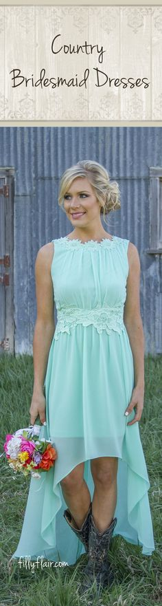Don't miss out this selection of country bridesmaid dresses with boots!