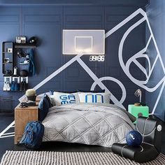 Step up your game with our new LED Basketball Hoop Wall Light and Novelty Game On/Game Off Pillowcases. Click our bio link to shop this look! Boy Sports Bedroom, Kids Bedroom, Boys Basketball Bedroom, Soccer Room, Male Bedroom, Dream Bedroom, Bedroom Furniture Sets, Bedroom Decor, Bedroom Ideas