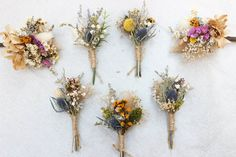 Bride candidates have the impression that the bridal bouquet is easy to select, this is actually not as simple as it seems. Colorful wedding bouquet Popular in Wedding Flowers & Bouquets Boutonnieres, Thistle Boutonniere, Succulent Boutonniere, Rustic Boutonniere, Dried Flower Bouquet, Flower Bouquet Wedding, Dried Flowers, Babys Breath Flowers, Succulents
