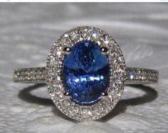 HOLIDAY SALE... Blue Sapphire Engagement Ring, AGL Certified Untreated Ceylon Cornflower Blue Sapphire in White Gold Milgrain Diamond Halo E