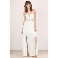 Tobi Dusk To Dawn Maxi Dress (£71) ❤ liked on Polyvore featuring dresses, cream, lace front dress, lace up front dress, pink slit dress, laced dress and open back dresses