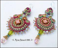 Soutache eaerrings in Fuschia Green Gold and Pink by MiriamShimon