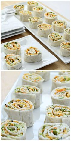 (substitute dairy for Vegan alternatives) Vegetable Tortilla Roll Ups with cream cheese filling spread on tortillas, topped with vegetables and cheese. Slice and serve. Just like veggie pizza! Appetizers For Party, Appetizer Recipes, Snack Recipes, Cooking Recipes, Pizza Appetizers, Fingers Food, Roll Ups Tortilla, Food Porn, Wrap Sandwiches