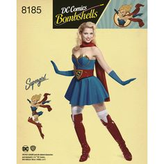 Make a Super Girl costume with a twist for your next cosplay event, featuring pinup-inspired pieces from D.C. Bombshells. Misses' pattern includes corset top, skirt, pant, belt, boot covers, and scarf. D.C. Comics for Simplicity sewing patterns.