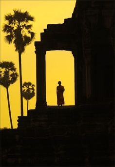 Photograph of a young monk in Angkor Wat, Cambodia Scenery Photography, Landscape Photography, Landscape Photos, Cambodia Travel, Mellow Yellow, Yellow Black, Color Yellow, Angkor Wat, Great Shots