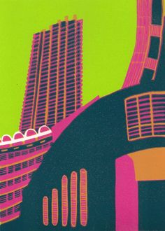 Barbican (blackberry) - Linocut print in edition of 25 Linocut Artists, London Landmarks, Barbican, A Level Art, Cool Sketches, London Art, Environmental Art, Urban Landscape, Urban Art