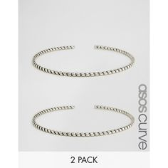 ASOS CURVE Pack of Two Twist Arm Cuffs (53 DKK) ❤ liked on Polyvore featuring jewelry, bracelets, plus size, silver, twist jewelry, silver bangles, silver jewelry, silver jewellery and twisted bangle