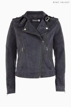 Mint Velvet Suede Biker Jacket