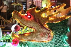 A dragon all lit up during the Wesak Day (Vesak Day) parade in Kuala Lumpur, Malaysia
