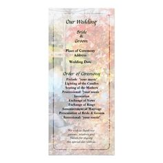 Designs by Susan Savad - Autumn Lake Wedding Program -- Autumn wedding program that you can customized yourself.  #wedding  #weddingprogram #customize #autumn #fall #trees #lake #park   $0.55  per card. BULK PRICING AVAILABLE!