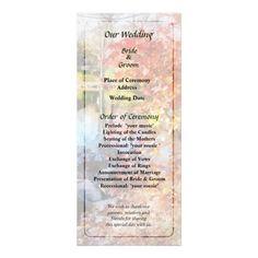 Designs by Susan Savad - Autumn Lake Wedding Program -- Autumn wedding program that you can customized yourself.  #wedding  #weddingprogram #customize #autumn #fall #trees #lake #park   $0.55  per card. BULK PRICING AVAILABLE!