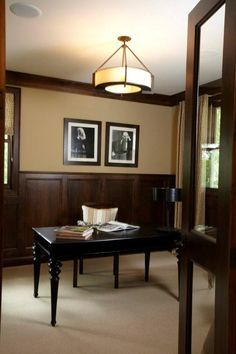 Chocolate Brown Wainscoting In Office Www Decorchick Com
