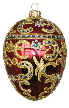 edward barn azov red egg glass christmas ornament handmade in poland - Glass Christmas Ornaments