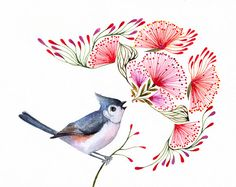 Titmouse Song songbird art print size 10x8 No. 8 by TevaKiwi