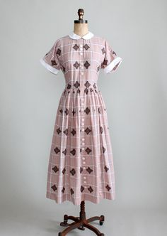 Late 1940s Embroidered Cotton Day Dress