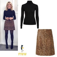 Holly Willoughby outfit leopard print skirt black polo neck black boots This Morning January 2018