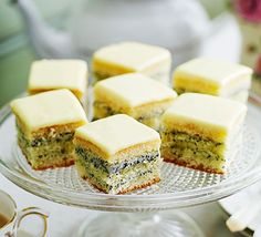 Lemon and poppy seed gateaux. Delicate squares of light sponge cake, filled with poppy seed buttercream - a perfect Mother's Day or afternoon tea treat Bbc Good Food Recipes, Tea Recipes, Cake Recipes, Party Recipes, Gourmet Recipes, Baking Recipes, Apple Traybake, Chocolate Buttercream Icing, Cookies
