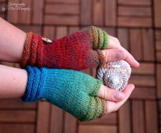 """Fingerless mittens """"Amazon"""" - OOK handknit wrist warmers / fine yarn and lush colours, green, blue, red gift for her by KnitographyByMumpitz"""
