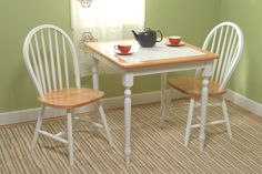 3 Piece Kitchen Table Set White