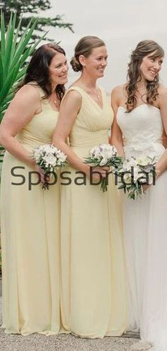 A-line Mismatched Chiffon Pastel Yellow Formal Bridesmaid Dresses  WG869  #Long #mismatched #blush #summer #bridesmaiddress #fall #bridesmaiddresses #bridesmaids #weddingguest #wedding #Modestbridesmaiddress #cheapdress #mermaid #summer #beach Formal Bridesmaids Dresses, Modest Dresses, Cheap Dresses, Wedding Dresses, How To Make Shoes, Pastel Yellow, Famous Brands, Dress Backs, Dream Dress