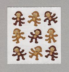 Sandylion+Playful+Monkeys+Stickers+Rare+Vintage+PM612