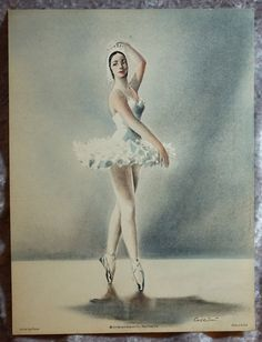 """Vintage Ballerina, Original Color Lithograph, """"Sur Les Pointes""""  1953 Art Lithograph, by Cellini,  Made in the USA by FunFloridaVintage on Etsy"""