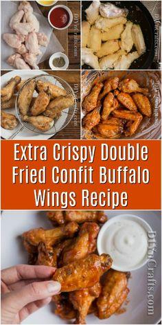 Extra Crispy Double Fried Confit Buffalo Wings Recipe #recipe #food #maincourse #buffalowings #hotsauce #crispy #yummy via @vanessacrafting