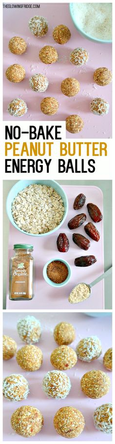 No-Bake Peanut Butter Energy Balls - vegan, low-fat (using de-fatted PB powder) , super quick, easy and wholesome! Perfect pre-workout, post-workout, in between meals or after dinner for a sweet little snack. From The Glowing Fridge.